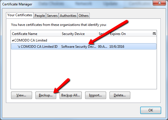 mumble manually exporting certificates
