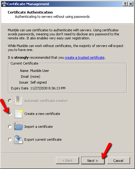 Mumble Certificate Wizard Screen 2