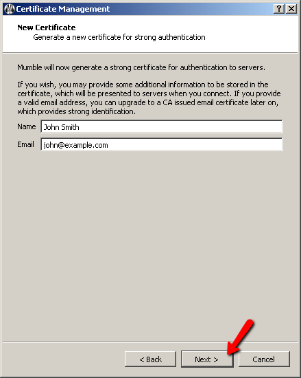 Mumble Certificate Wizard Screen 3