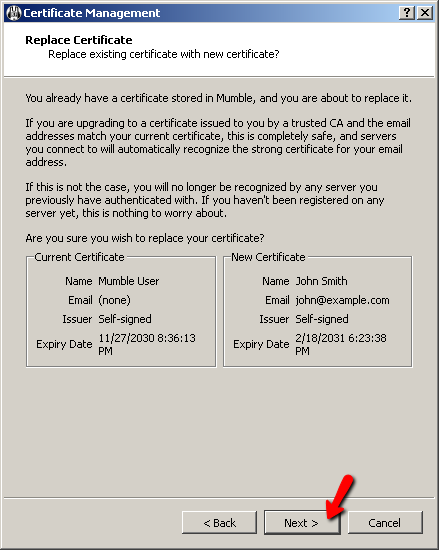 Mumble Certificate Wizard Screen 4