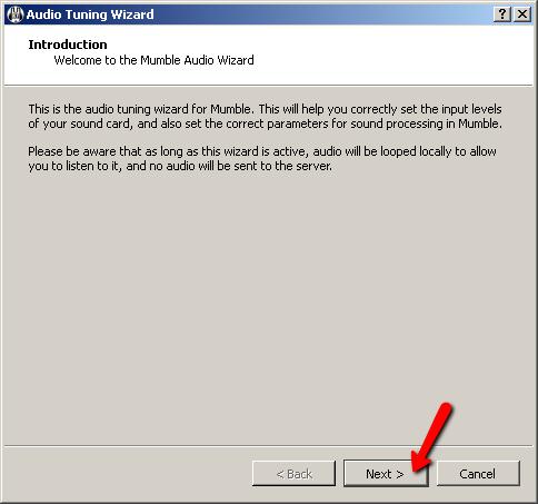Mumble - Running the Audio Tuning Wizard