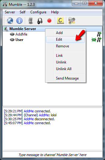 Mumble Adding User Admin Group Screen 1