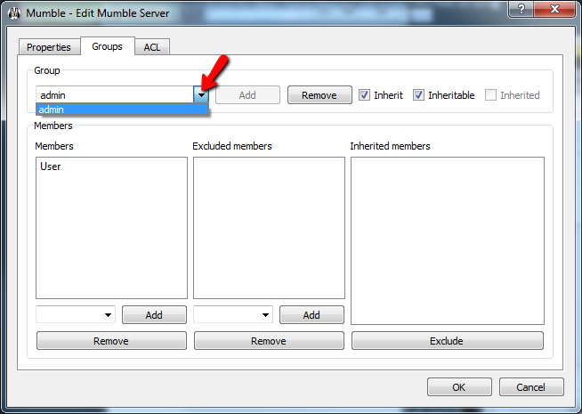 Mumble Adding User Admin Group Screen 3